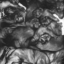 """Sara Abbasian, untitled, from """"Cluster 5"""" series, pencil on paper, 150 x 100 cm, frame size: 161 110 cm, 2021"""