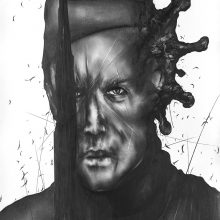 """Sara Abbasian, untitled, from """"Cluster 5"""" series, pencil on paper, 100 x 50 cm ,2021"""