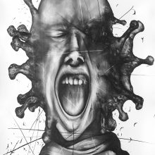 """Sara Abbasian, untitled, from """"Cluster 5"""" series, pencil on paper, 100 x 50 cm, frame size: 111.5 x 61 cm, 2021"""