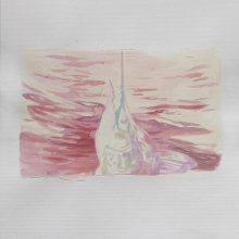 """Sahar Kheitan, untitled, from """"High Seas"""" series, acrylic on cardboard, 16 x 23.5 cm, frame size: 36.5 x 32.5 cm, 2016"""