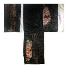 "Samira Hodaei, ""Namakdoun II"", from ""Let Them Eat Oil!"" series, mixed media, tar & glass paint on rice sacks, 97 x 96 cm, unique edition, 2020"