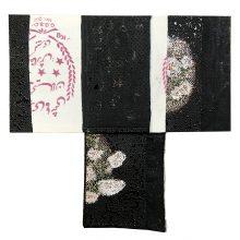 "Samira Hodaei, ""Namakdoun III"", from ""Let Them Eat Oil!"" series, mixed media, tar & glass paint on rice sacks, 90 x 92 cm, unique edition, 2020"