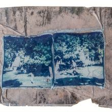 "Sasan Abri, Untitled, from ""Expedition in an Urban Area"" series, mixed media polaroid photography, a collage of two images, all transferred onto a glass, 22.5 x 32 cm, 2018"