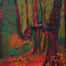 """Sourena zamani, """"An Old Disordered Tree in Do- Hezar Forest"""", Oil on Canvas, 24 x 18 cm, 2014"""