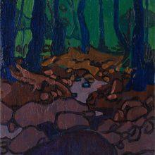 "Sorena Zamani, ""Big Rock Looking at The Stream"", Oil on Canvas, 30 x 20 cm, 2015"