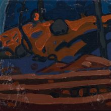 "Sourena Zamani, ""Copse With Shadow Striped Ground"", Oil on Canvas, 13 x 18 cm, 2015"