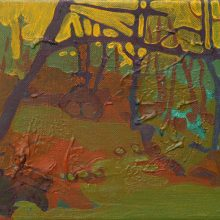 """Sourena Zamani, """"Down The Hill With A Branch Out"""", Oil on Canvas, 20 x 25 cm, 2014"""