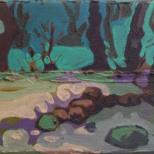 """Sourena Zamani, """"Rocks Funeral With Old Trees"""", Oil on Canvas, 13 x 18 cm, 2014"""