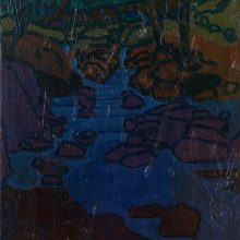 "Sourena Zamani, ""Stairwell River"", Oil on Canvas, 30 x 20 cm, 2015"