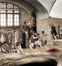 "Azadeh Akhlaghi, ""Jahangir Khan Sur-e-Esrafil, Nasrollah Malek al Motekallemin, 24 June 1908"", from ""By an Eye-Witness"" series, digital print on photo paper, edition of 9 + AP, 110 x 188 cm, 2012"