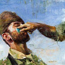 "Mahsa Nouri, untitled, from ""Dark Water"" series, oil on cardboard, 32 x 31 cm, frame size: 46 x 46 cm, 2021"