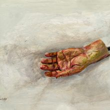 """Mahsa Nouri, """"The Left Hand"""", from """"Dark Water"""" series, oil on cardboard, 34 x 49.5 cm, frame size: 48 x 63 cm, 2021"""
