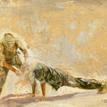 "Mahsa Nouri, untitled, from ""Dark Water"" series, oil on cardboard, 40 x 50 cm, frame size: 53.5 x 64 cm, 2021"