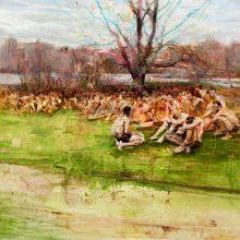 "Mahsa Nouri, untitled, from ""Dark Water"" series, oil on cardboard, 50 x 70 cm, frame size: 63.5 x 83.5 cm, 2021"