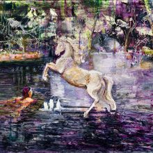 "Mahsa Nouri, untitled, from ""Dark Water"" series, oil on cardboard, 49.5 x 68.5 cm, frame size: 63.5 x 83.5 cm, 2021"