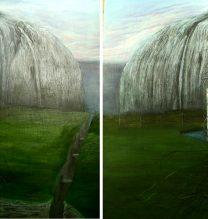 """Sheida Arab Yazdi, Untitled, From """"Isolation"""" Series, Oil on Board, 75 x 150 cm, 2017"""
