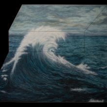 "Amirhossein Bayani, ""M.SH."", from ""Fidelity; Names of Politics"" series, oil on board, 133 x 148 cm, 2018"