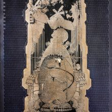 "Amir-Nasr Kamgooyan ,untitled, from ""Think Box"" series, acid engraving on painted metal, size: 237 x 92 cm, unique edition, 2019"