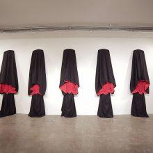 "Ursula Neugebaur, ""Tschador"" Series, 7 Chador, Black Textile with Red lining, installation view, 290 x 125 cm, 2007"