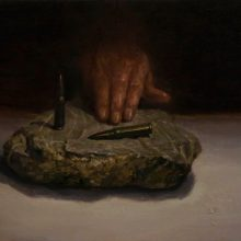 "Hosein Mohamadi, ""That's Enough"", from ""Rupture"" series, oil on canvas, 30 x 50 cm, 2020"