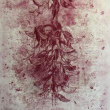 """Neda Ghayouri Moteasseb, untitled, from """"The Remains"""" series, monotype, 45 x 30 cm, frame size: 62 x 47.5 cm, 2020"""
