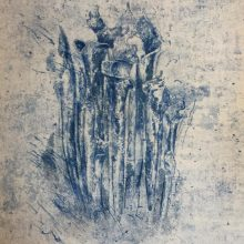 """Neda Ghayouri Moteasseb, untitled, from """"The Remains"""" series, monotype, 47 x 32 cm, frame size: 62 x 47.5 cm, 2021"""