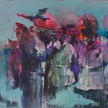 """Amir-Hossein Zanjani, """"Authority"""", from """"Marching"""" series, oil on canvas, 130 x 165 cm, 2017"""
