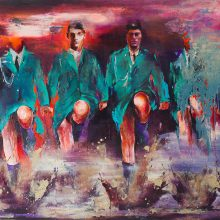 """Amir-Hossein Zanjani, """"Dancers"""", from """"Marching"""" series, oil on canvas, 180 x 300 cm. 2017-2018"""