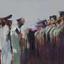 """Amir-Hossein Zanjani, """"Eye Contact"""", from """"Marching"""" series, oil on canvas, 150 x 180 cm, 2018"""