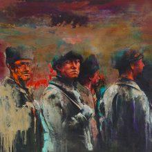 "Amir-Hossein Zanjani, ""Gazing"", from ""Marching"" series, oil on canvas, 130 x 165 cm, 2017"