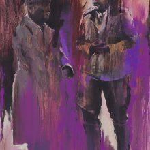 "Amir-Hossein Zanjani, ""Purple Uniform"", from ""Marching"" series, oil on canvas, 120 x 80 cm, 2017"