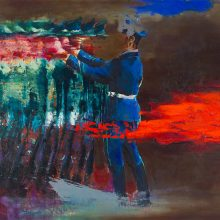 """Amir-Hossein Zanjani, """"Red Flag"""", from """"Marching"""" series, oil on canvas, 170 x 200 cm, 2018"""