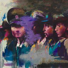 "Amir-Hossein Zanjani, ""Russian Girls"", from ""Marching"" series, oil on canvas, 70 x 100 cm, 2017"