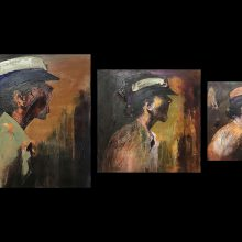 """Amir-Hossein Zanjani, """"Scream"""", from """"Marching"""" series, oil on canvas, triptych, various sizes, 2018"""
