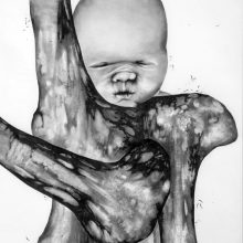 "Sara Abbasian, untitled, from ""Confrontation"" series, pencil on cardboard, 70 x 50 cm, 2014"