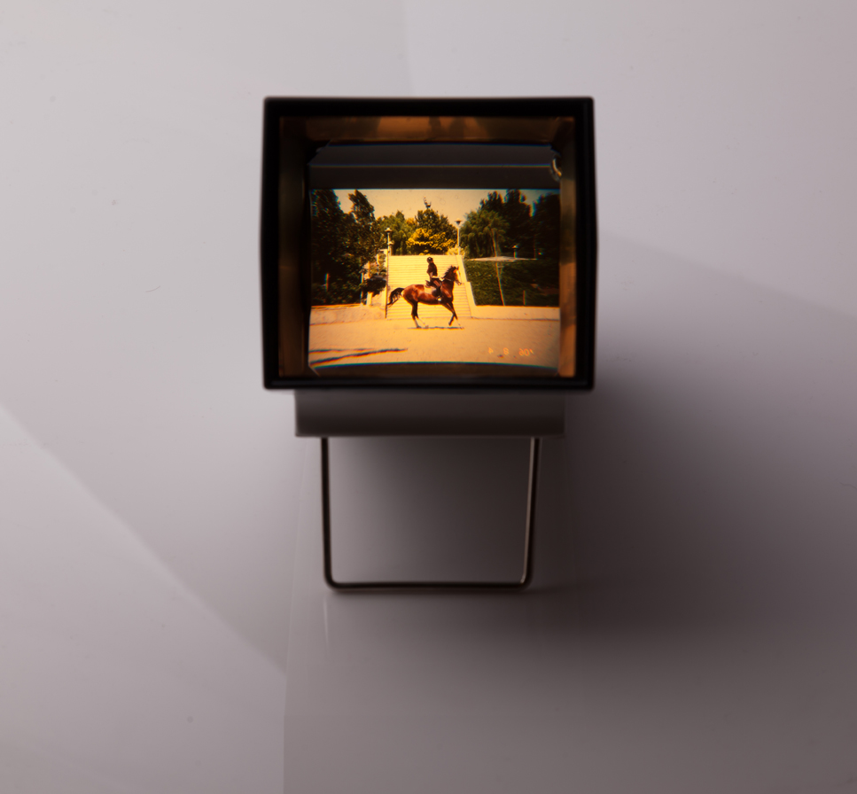 "Arya Tabandehpoor, untitled, from ""Slides"" series, slide and slide machine, unique edition, 8.5 x 9.5 x 14.5 cm, 2011 – 2014"