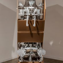 "Amir-Nasr Kamgooyan, untitled, from ""Think Box"" series, installation, plastic sheets and cardboard, overall size: 217 x 106 x 72 cm, unique edition, 2019"