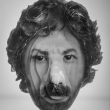 """Arya Tabandehpoor, """"Peyman Houshmandzadeh"""", from """"Portraits"""" series, photo cuts from criminology software and plexiglas sheets, 10 x 12 x 3 cm, edition of 6, 2010-2014"""