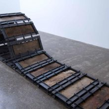 "Majid Biglari, ""Track"" (detail), from ""Experience of Dishevelment"" series, thirty-six-piece installation, iron, plywood, paint, 490 x 70 (minimum 10 and maximum 68) cm, unique edition, 2016"