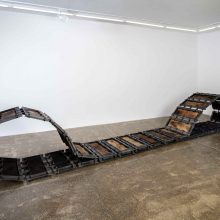 "Majid Biglari, ""Track"", from ""Experience of Dishevelment"" series, thirty-six-piece installation, iron, plywood, paint, 490 x 70 (minimum 10 and maximum 68) cm, unique edition, 2016"