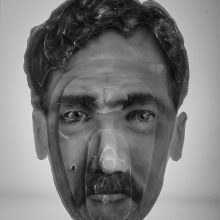 """Arya Tabandehpoor, """"Seifollah Samadian"""", from """"Portraits"""" series, photo cuts from criminology software and plexiglas sheets, 10 x 12 x 3 cm, edition of 6, 2010-2014"""