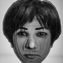 """Arya Tabandehpoor, """"Mehraneh Atashi"""", from """"Portraits"""" series, photo cuts from criminology software and plexiglas sheets, 10 x 12 x 3 cm, edition of 6, 2010-2014"""