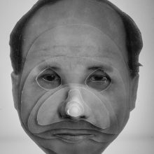 """Arya Tabandehpoor, """"Mehrdad Afsari"""", from """"Portraits"""" series, photo cuts from criminology software and plexiglas sheets, 10 x 12 x 3 cm, edition of 6, 2010-2014"""