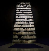 "Mahsa Aleph, ""Aleph's Library"", installation at Pasio, 1000 cured books, iron, wood, overall size: 250 x 250 x 900 cm, 2017"