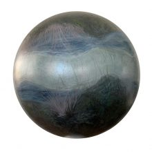 "Samaneh Salehi Abri, untitled, from ""Garden/Recreation/Observation"" series, oil on sphere,  diameter 45 cm, 2020"