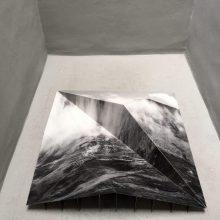 "Mehdi Abdolkarimi, from ""Among Highways"" series, photo installation, 150 x 150 x 40 cm, 2015"