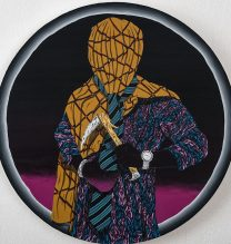 "Amir.H.Fallah, ""Veiled Broadcast"", (Acrylic and Colored Pencil on Paper Mounted to Panel), 60.96 cm in Diameter, 2013"