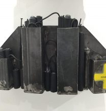 """Sara Abbasian, """"Weapons Depot #024"""", from """"Imperishable Gravity"""" series, mixed media (steel, plastic), 42 x 20 x 16 cm, 8 pieces, 2016"""