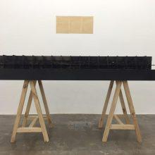 "Majid Biglari, ""Sixty Four, Sixty Four"", From ""The Experience of Dishevelment"" Series, Mixed Material (Cardboard Box, Ready Mix Concrete, Iron), 17 x 184 x 60 cm, 2016"