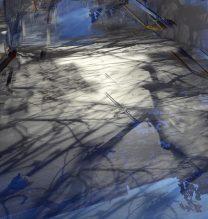 "Shaqayeq Arabi, ""Elsewhere"", Installation: Found materials and Light, 2017"